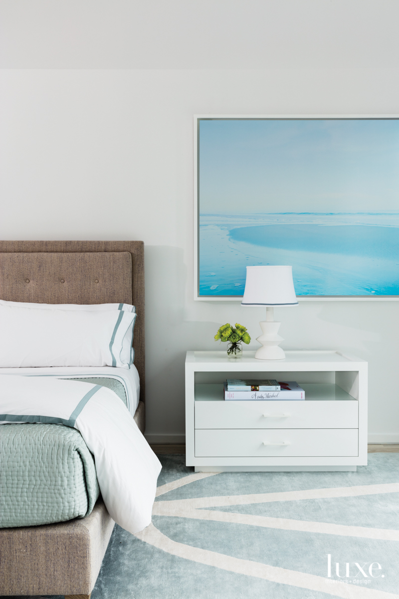 contemporary bedroom blue accents