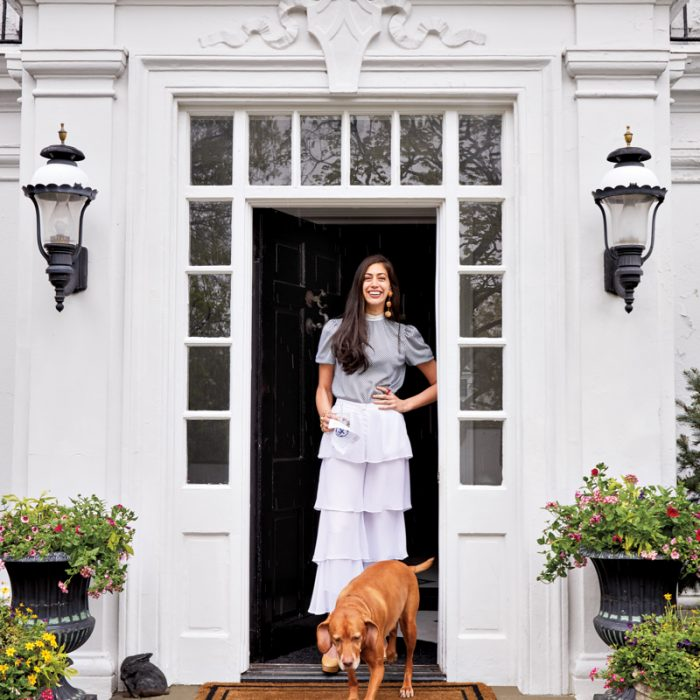 Stephanie Nass, at home with her dog, Winnie.