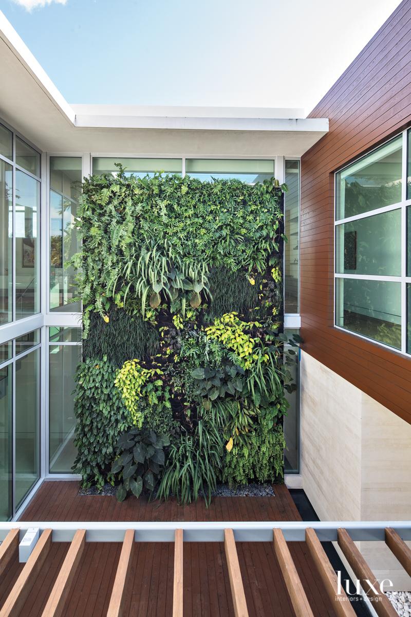 modern home outdoor hanging garden