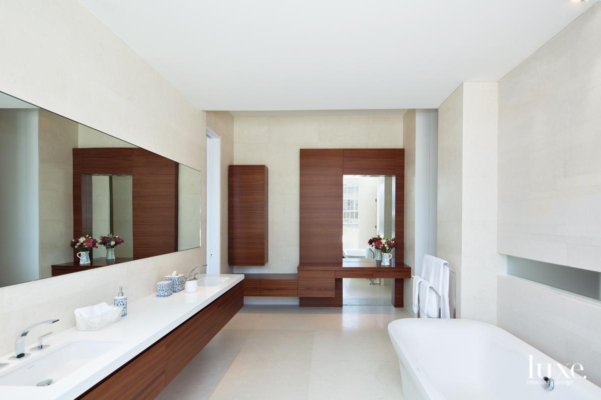modern white wood bathroom dual...