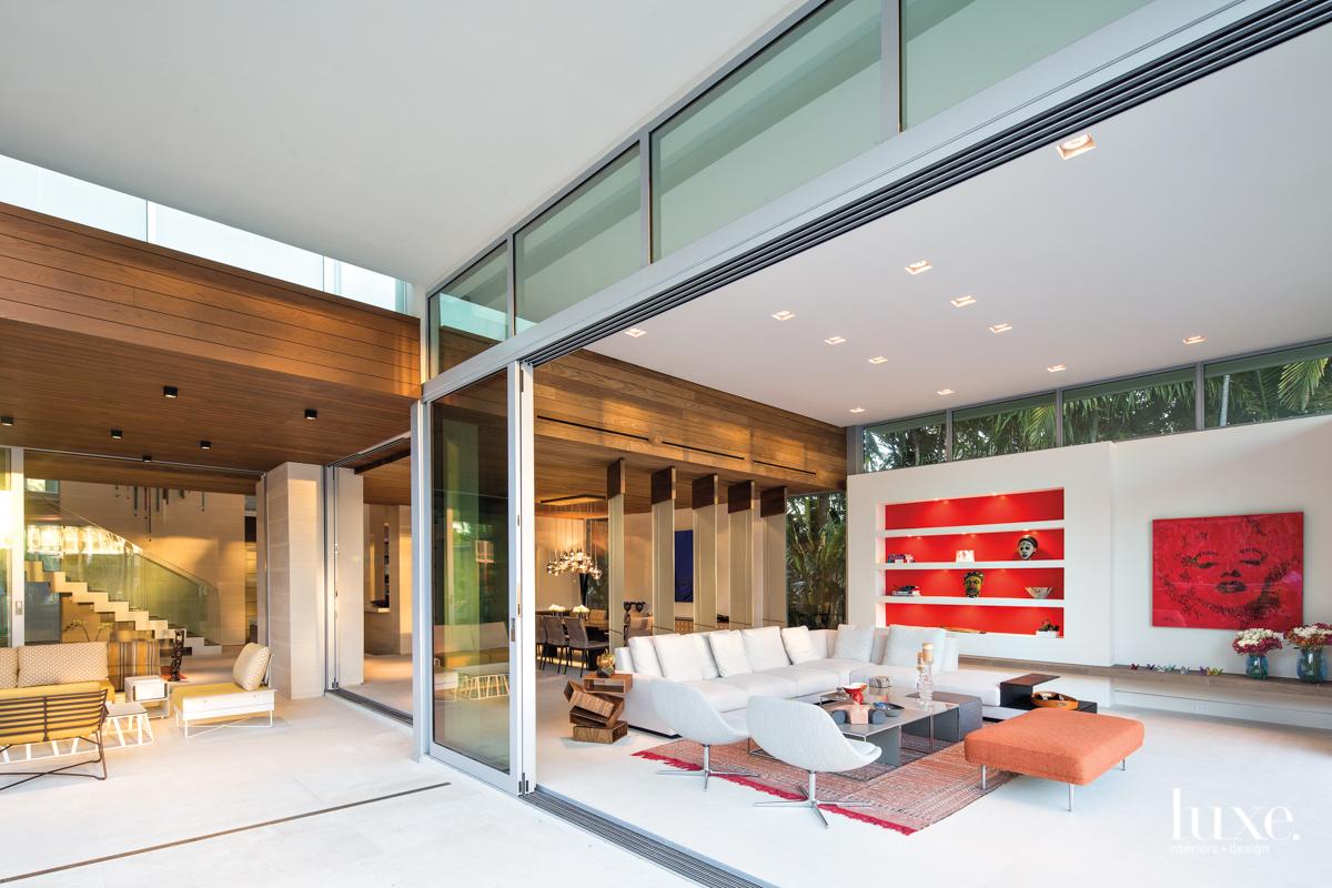 modern great room sliding glass...