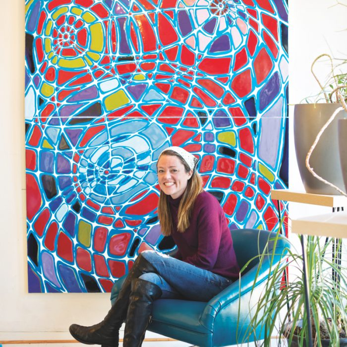 Drawing on the world of science to influence her artwork, Reis, with Reticulation, a piece inspired by cellular movement, works with epoxy polymer plastic in her colorful pieces.