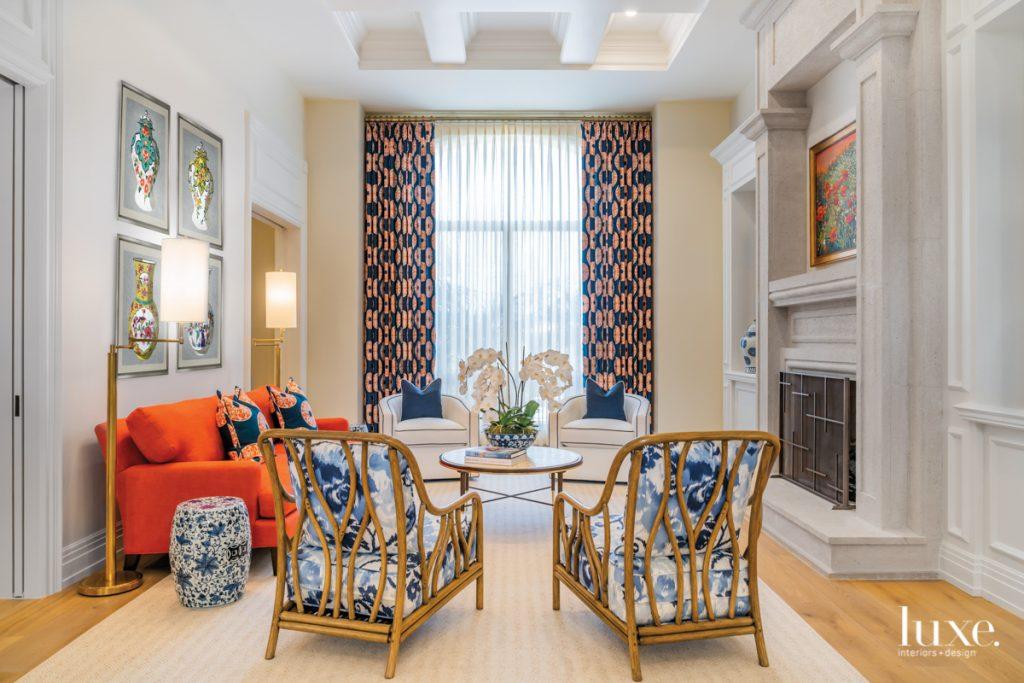 The formal living room displays...