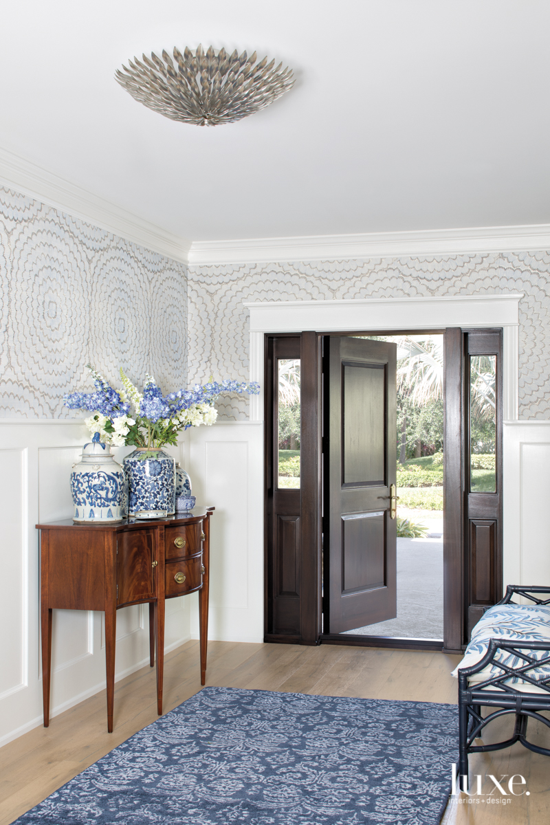 coastal neutral foyer blue rug