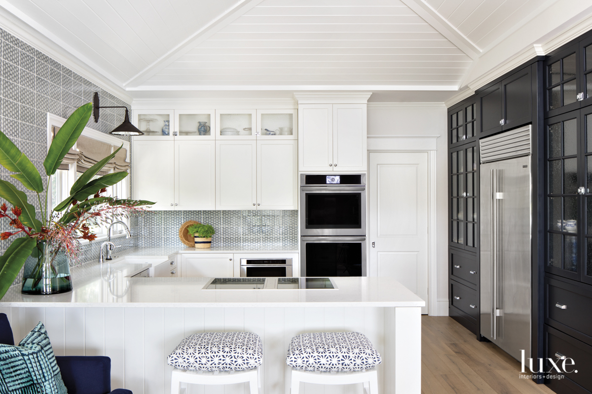 coastal white kitchen black cabinetry