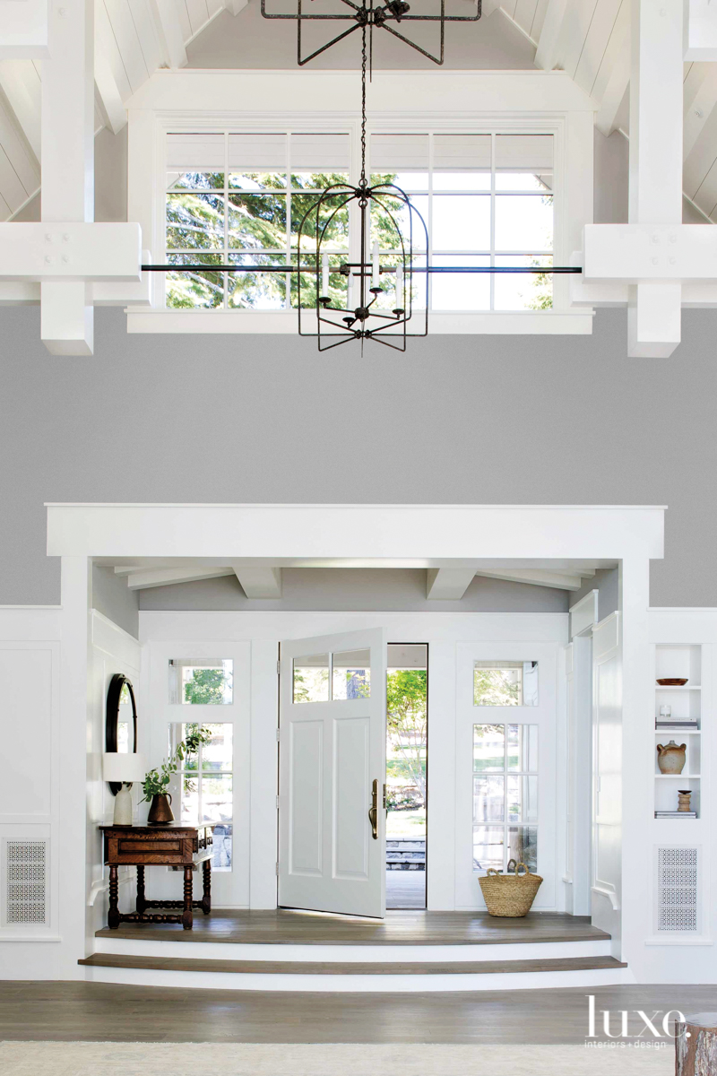 transitional white entry foyer white...