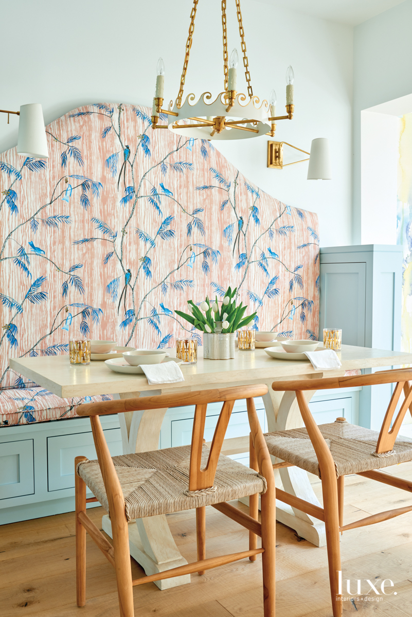 coastal banquette blue and pink...