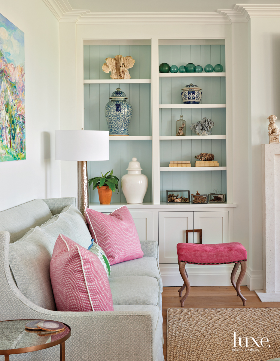 coastal living room pink and...