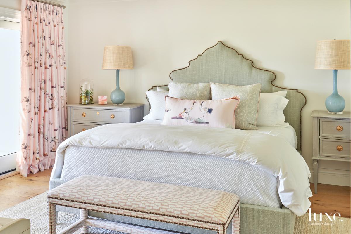 coastal neutral bedroom pink accents