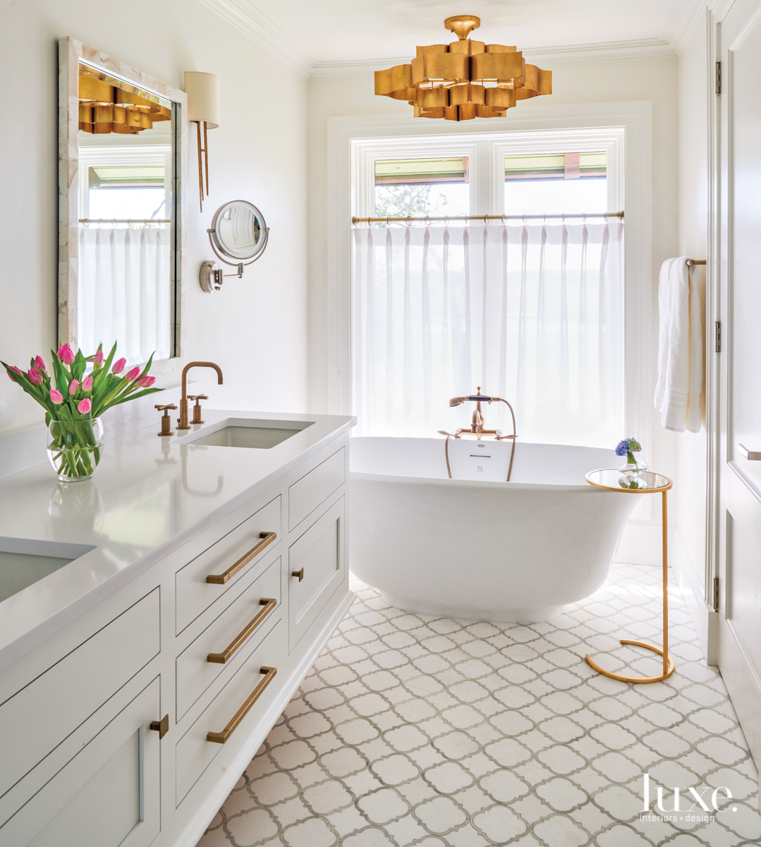 coastal white bathroom gold accents