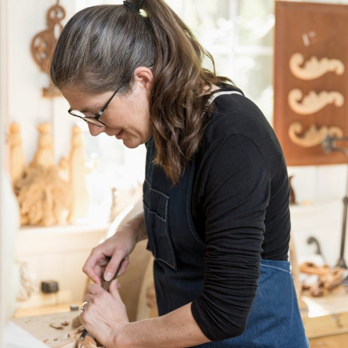Charleston-area woodcarver Mary May's workshop contains an array of tools she employs for private commissions as well as the instructional videos she films for her online school--with an inventory now more than 350 videos strong.