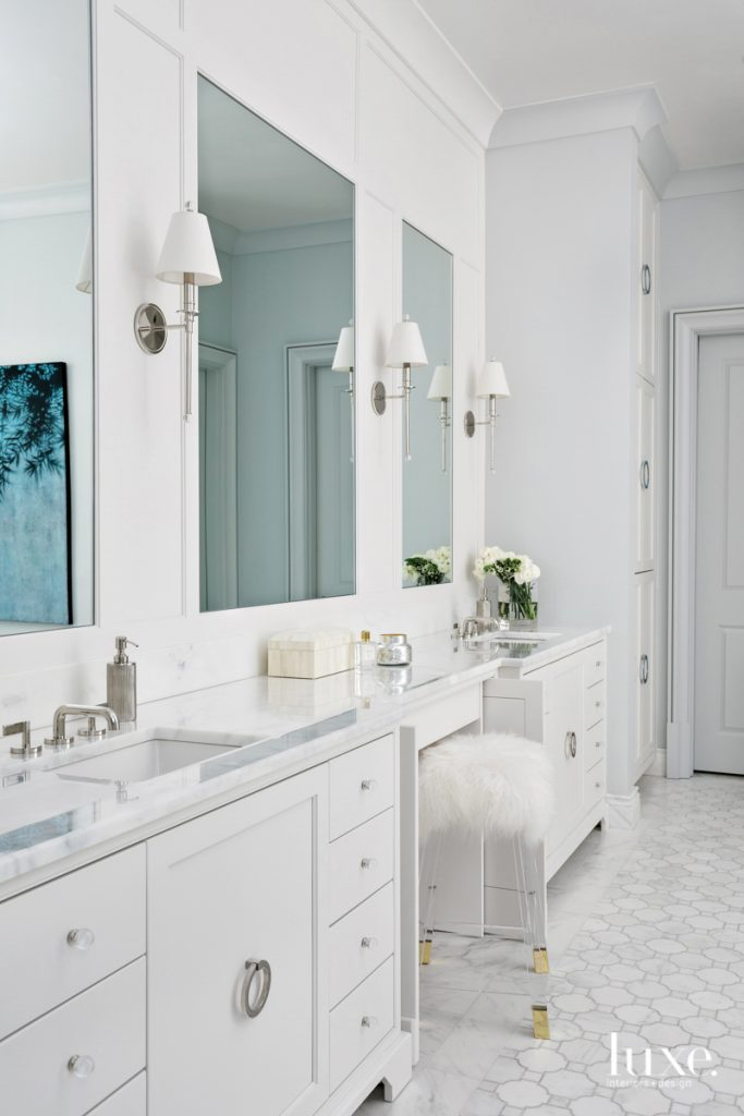 The master bathroom, painted a...