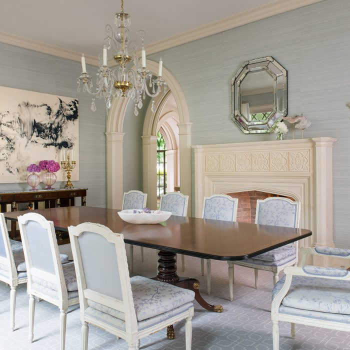 From the new Betty Lou Phillips book, French Refreshed: This dining room by Deborah Walker features a Murano chandelier from Foxglove Antiques in Atlanta. Sophisticated silk is the backdrop for contemporary art by Makoto Fujimura. The 19th-century French console is from Legacy Antiques. Fabric from Bart Halpern covers the chairs.