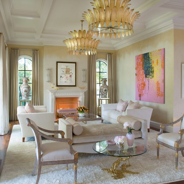 From the new Betty Lou Phillips book, French Refreshed: A signed and numbered Cy Twombly mixed-media lithograph hangs over the fireplace in this space by Deborah Walker. The oil-on-canvas is by Margaret Evangeline.