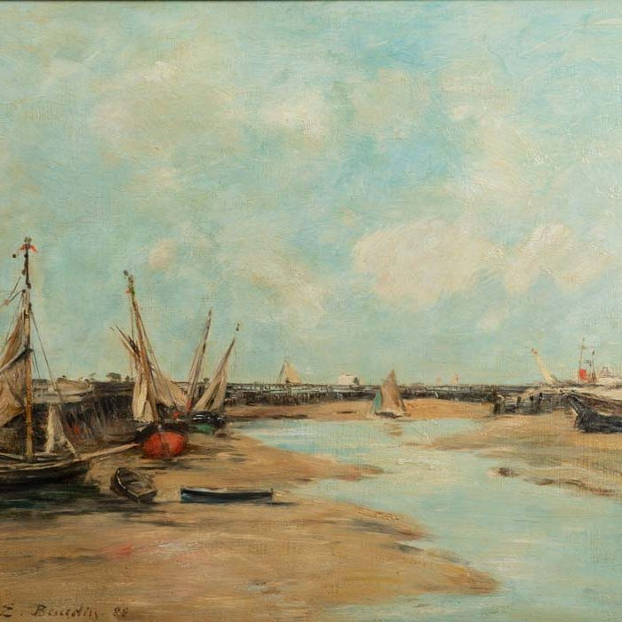 Eugene Boudin, 1824-1898 Trouville, Les Jetees, Maree Basse, 1888 Oil on panel, 13.25 x 16.25 in. John and Kay Bachmann Collection