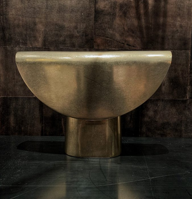 Shown here in cast bronze, Habachy Designs features the Fold Light in blackened bronze.