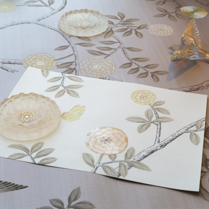 A Fromental wallcovering gets a Lalique crystal finish.