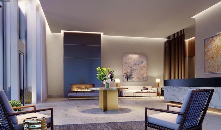 HALL Arts Residences Living Room Rendering