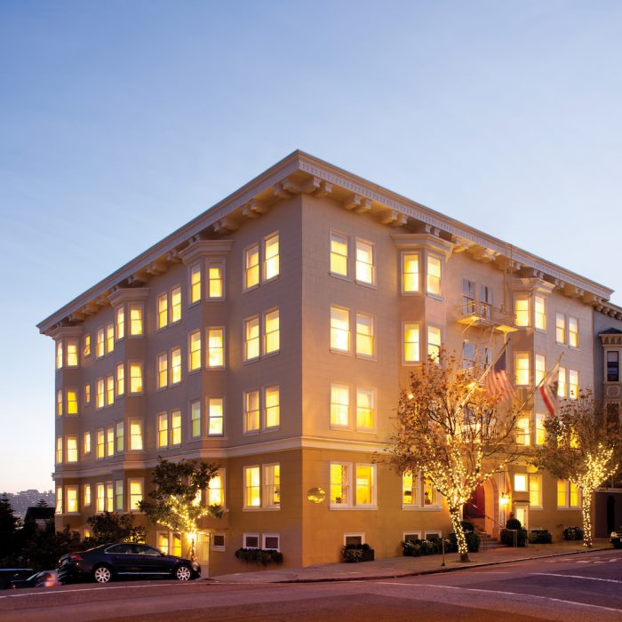 The Hotel Drisco sits atop the Pacific Heights neighborhood of San Francisco.