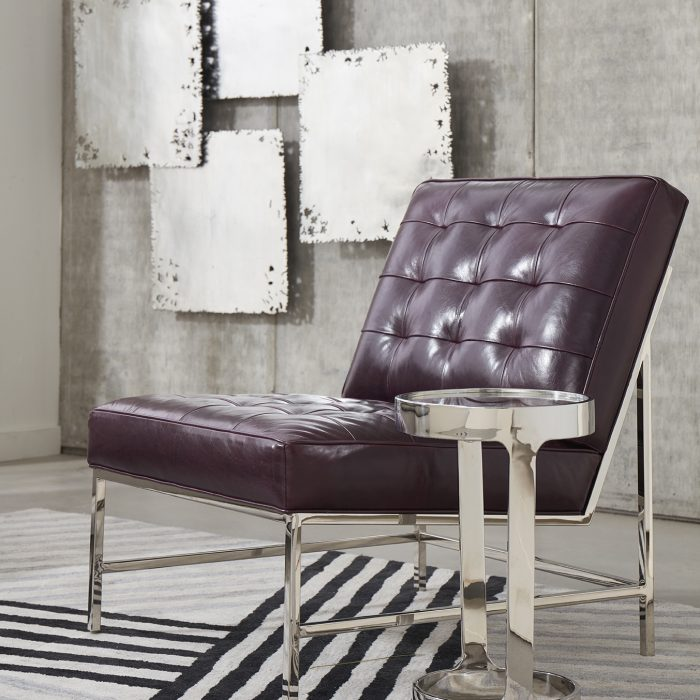 With midcentury modern inspired lines, the Major chair introduces a timeless aesthetic in rich aubergine leather.