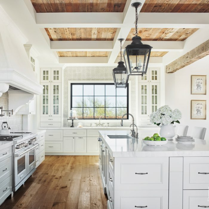 In the kitchen, reclaimed beams...