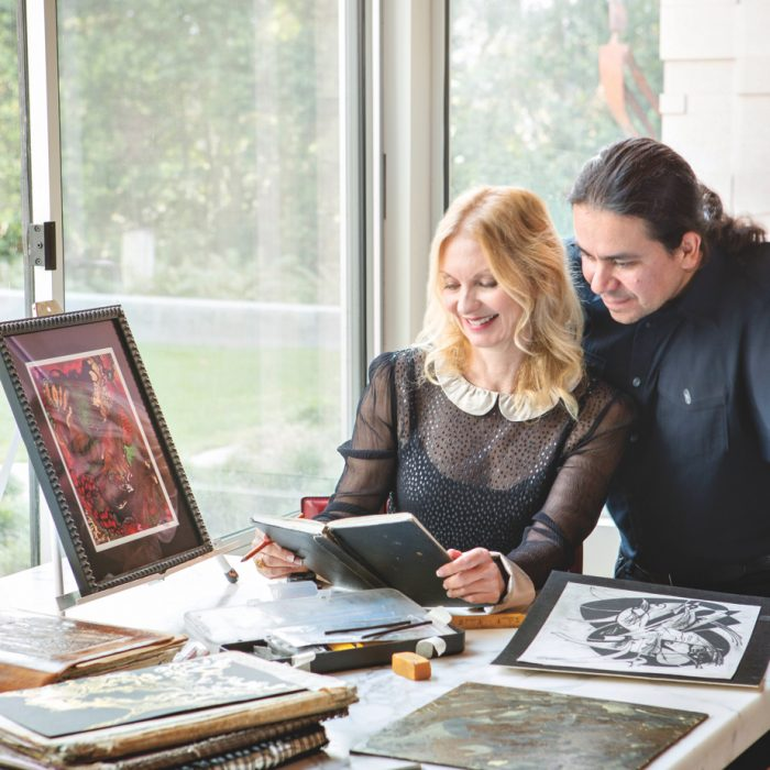 Modra Studio's Tamalyn Krecic Shea and Fernando Apodaca shown at work in their La Jolla studio.