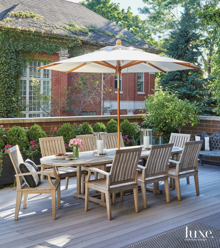 wood outdoor table with umbrella