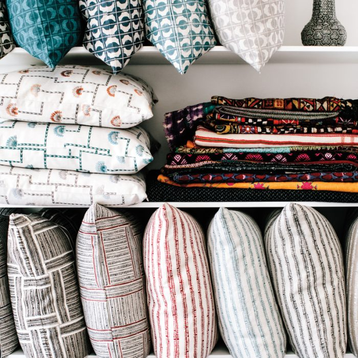 The designer also offers pillows in her eponymous collection.