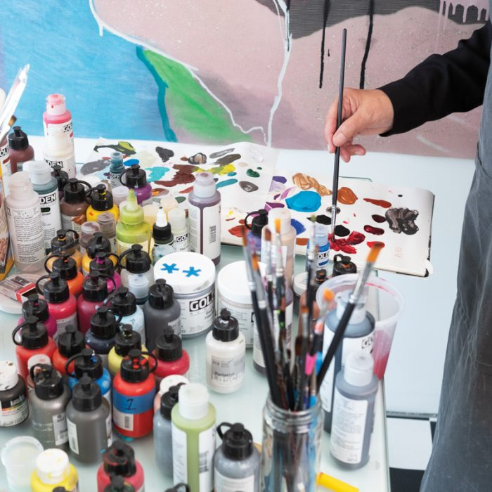 Alvarez at work in her Chicago studio.
