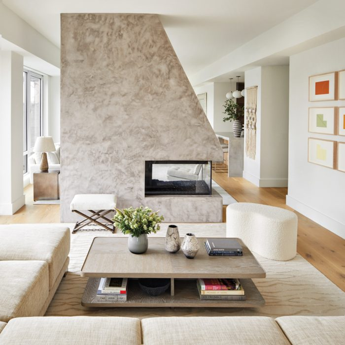 A floating concrete fireplace with...