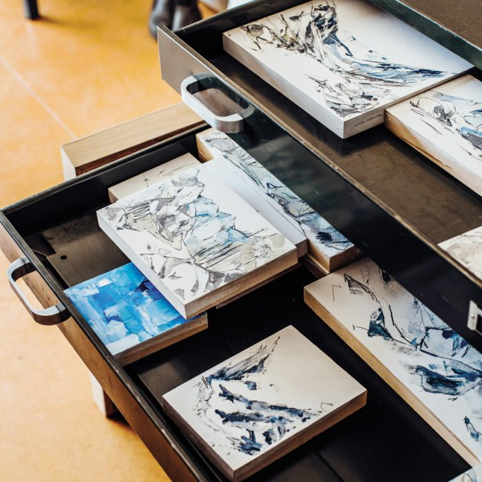 Drawers contain some of Kerner's smaller paintings.