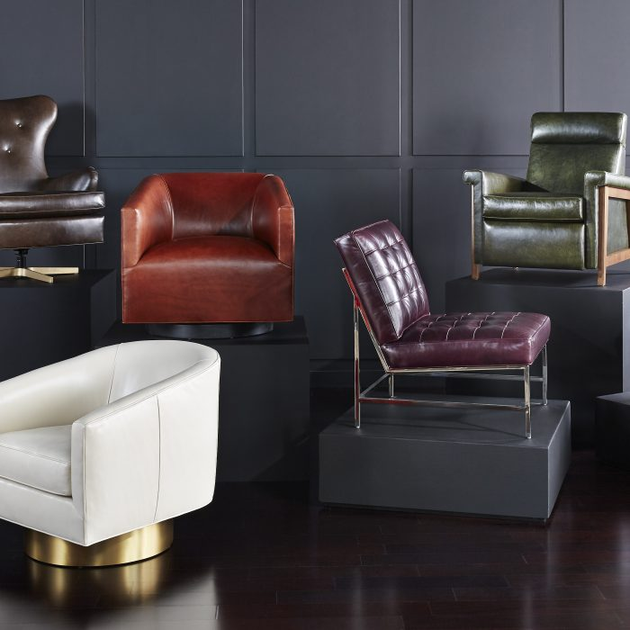 Crafted to last a lifetime, the Mitchell Gold + Bob Williams leather collection offers chic seating in a spectrum of colors and styles.