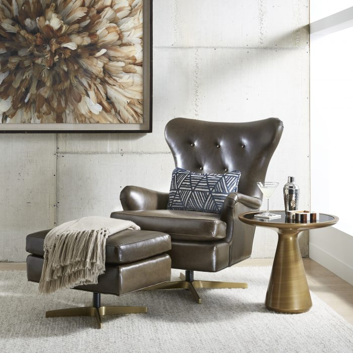 Add height and a welcoming presence with this modern wingback swivel in richly patinaed leather.
