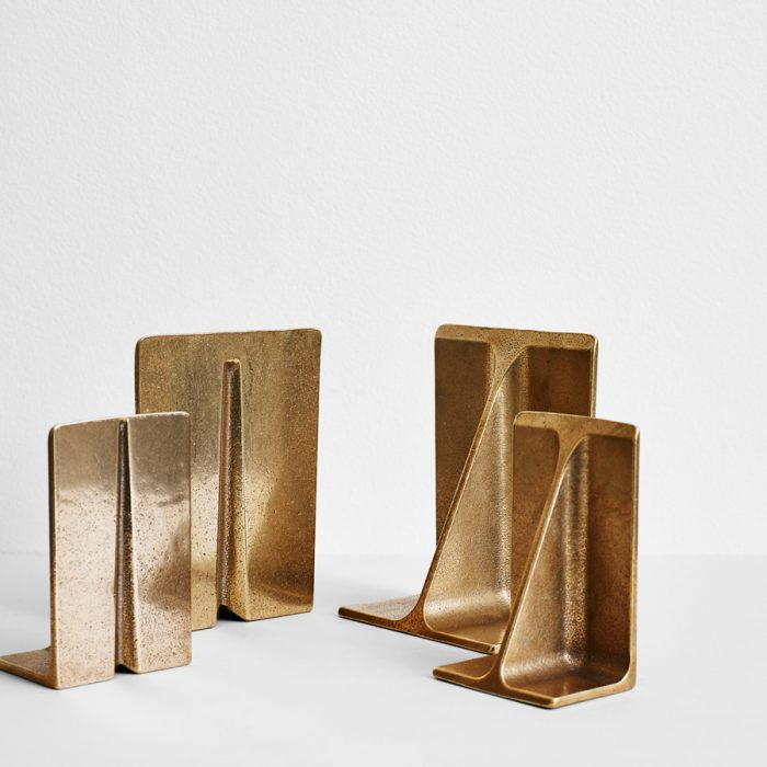 Showroom proprietor Michael Habachy stocks Wilson's signature Fin Bookends in two sizes.