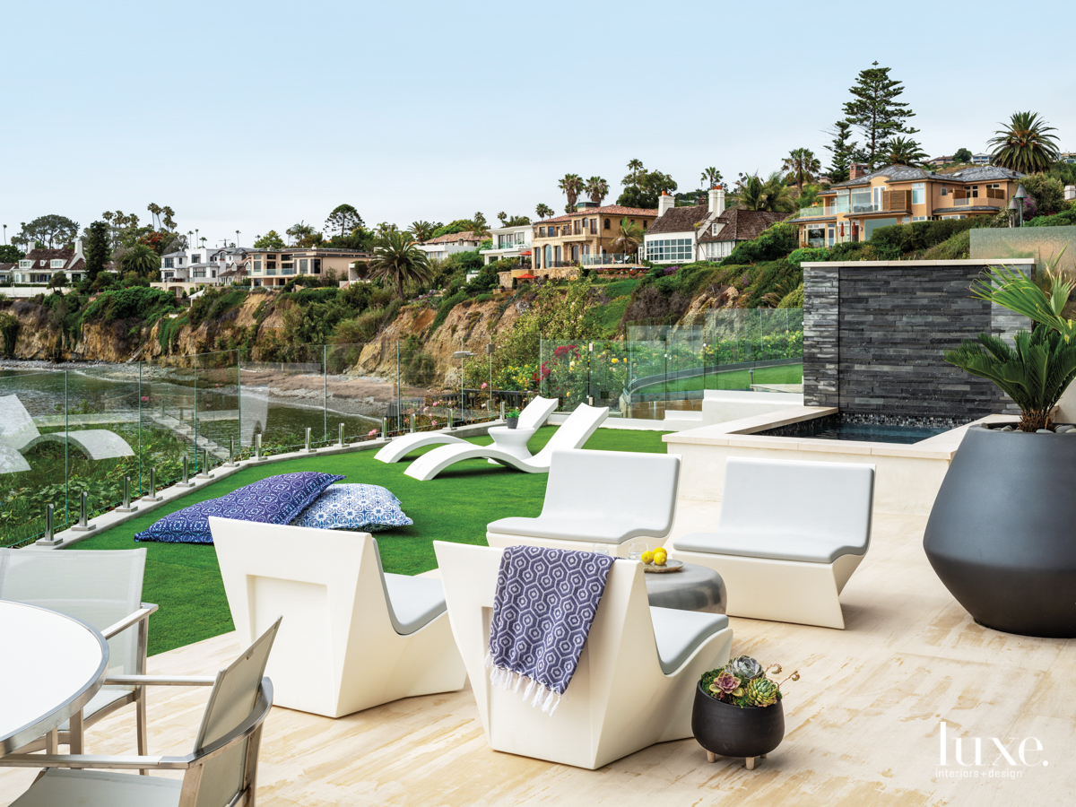 southern california home terrace with...