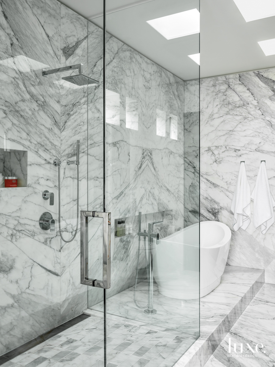 southern califoria home marble bathroom...