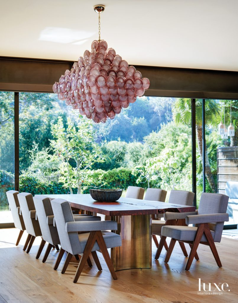 A vintage Murano chandelier serves...