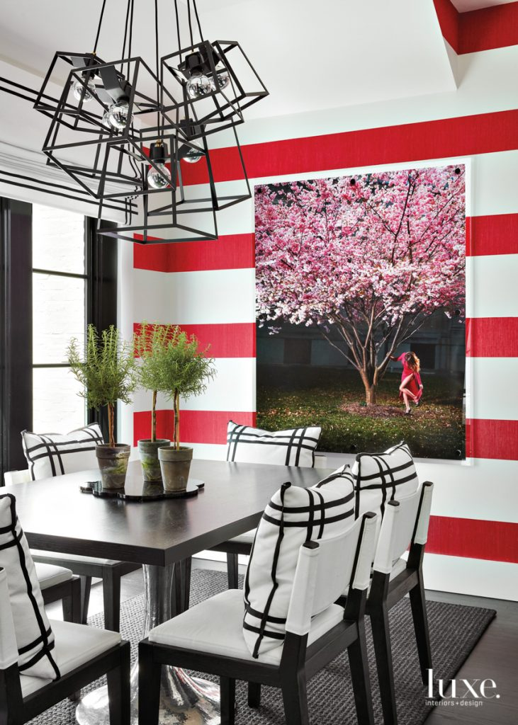red white stripe wall dining...