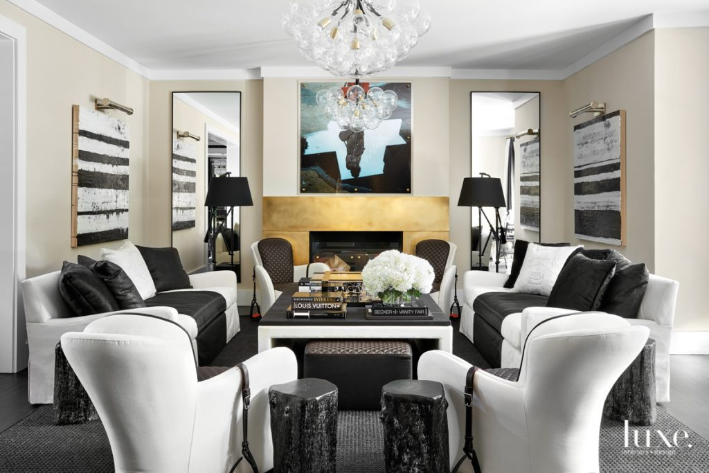 living room with custom seating...