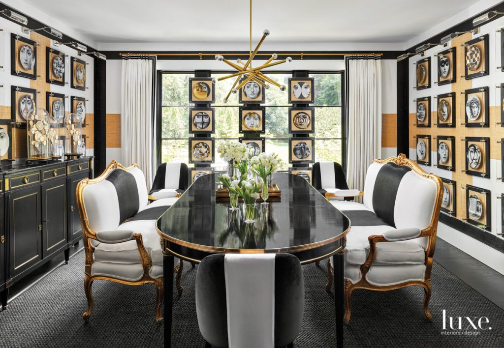 dining room with fornasetti collection...