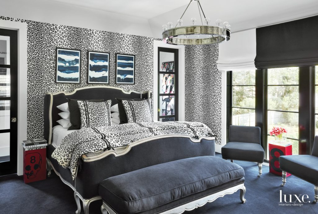 master bedroom with navy leopard...