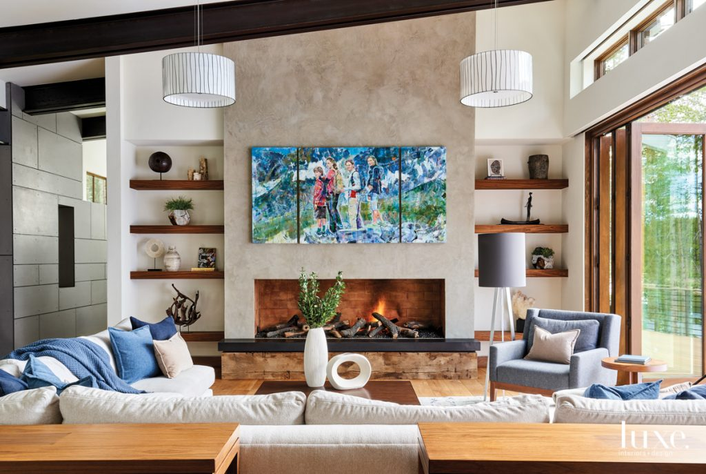 living room with abstract art...