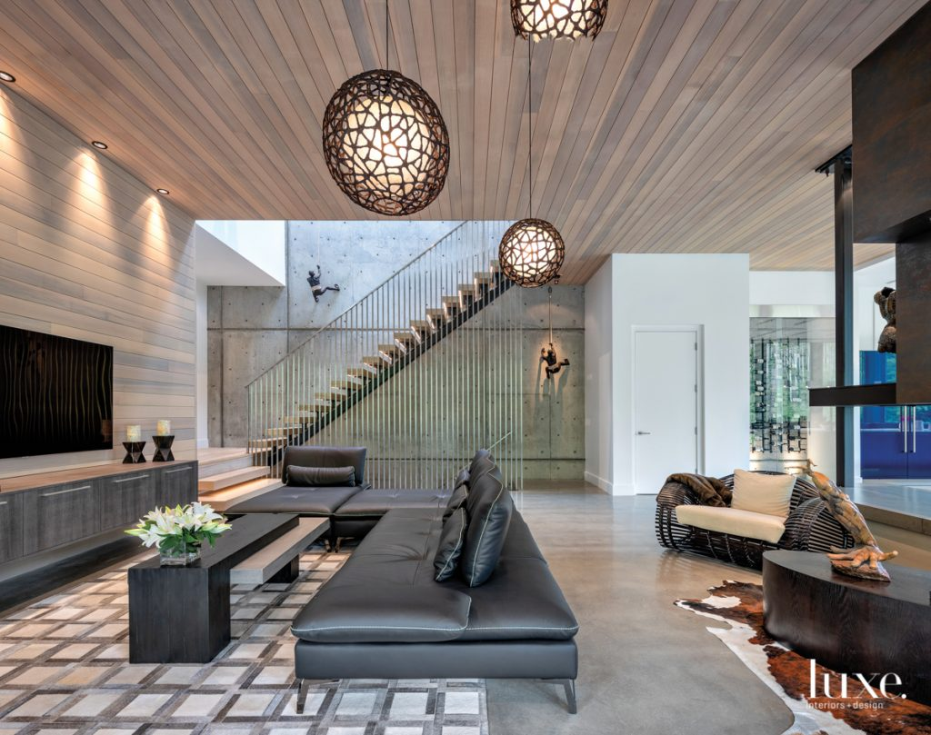 The home's spacious living area...