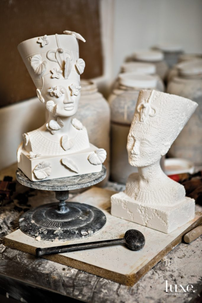 """Doucet confronts gentrification his ceramic series """"White Noise: When Raindrop Whispers and Moonlight Screams in Silence."""