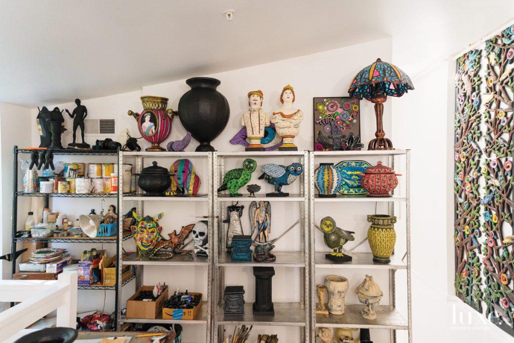 shelves of papier mache creations