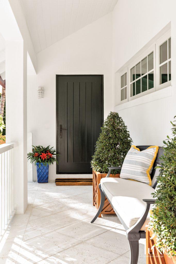 black door entry porch