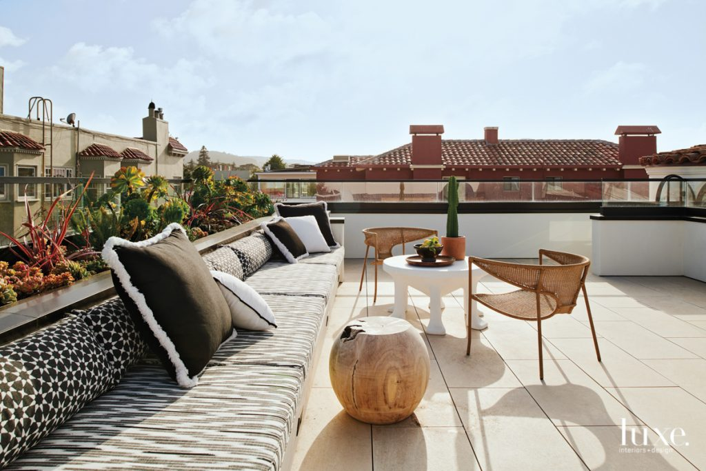 roof deck with bench in...