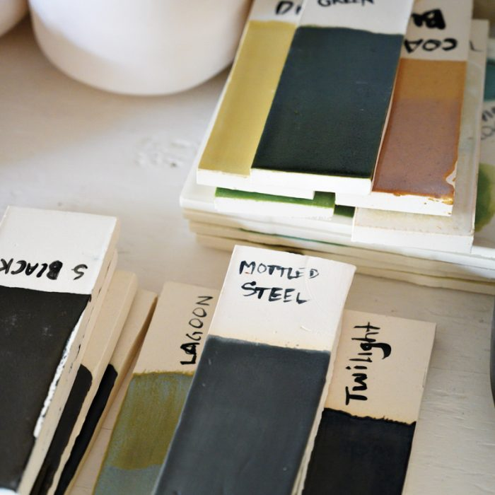 Ceramic tiles display glaze colors.