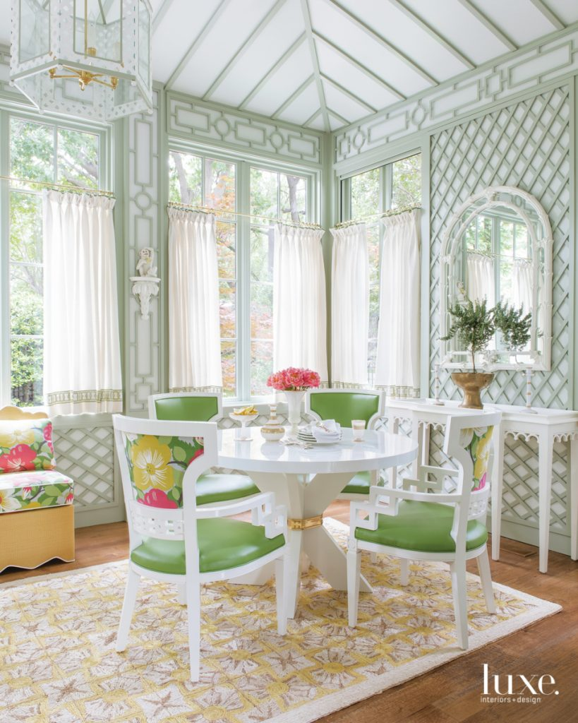 The breakfast room's latticework by...