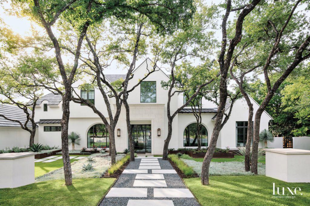 austin home exterior oak trees